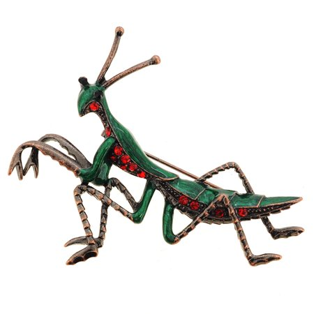 Green Praying Mantis Pin - Dangling Green Brooch