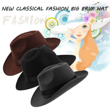 db17fa4e131915 Fashion and Chic Women Vintage Hard Felt Hat Wide Brim Fedoras ...