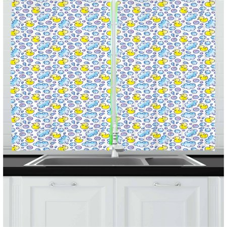 Baby Curtains 2 Panels Set, Washing Time Themed Image with Soap Bubbles Water Droplets Rubber Ducks Pattern, Window Drapes for Living Room Bedroom, 55W X 39L Inches, Blue Lilac Yellow, by Ambesonne