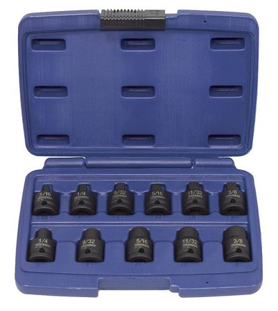 "Westward 3/8"" Drive, Impact Socket Set, Pipe Plug, 4PRF8"