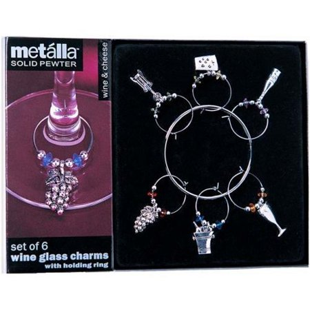 Metalla Solid Pewter Set of 6 Silver Finish Wine & Cheese Themed Wine Glass Charms with Holding Ring (Pewter Wine Charm)
