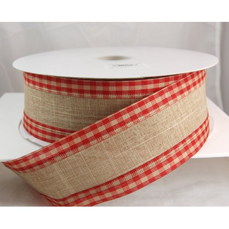 Linen Gingham Edge Wired Red and Tan Christmas Ribbon 2 1/2