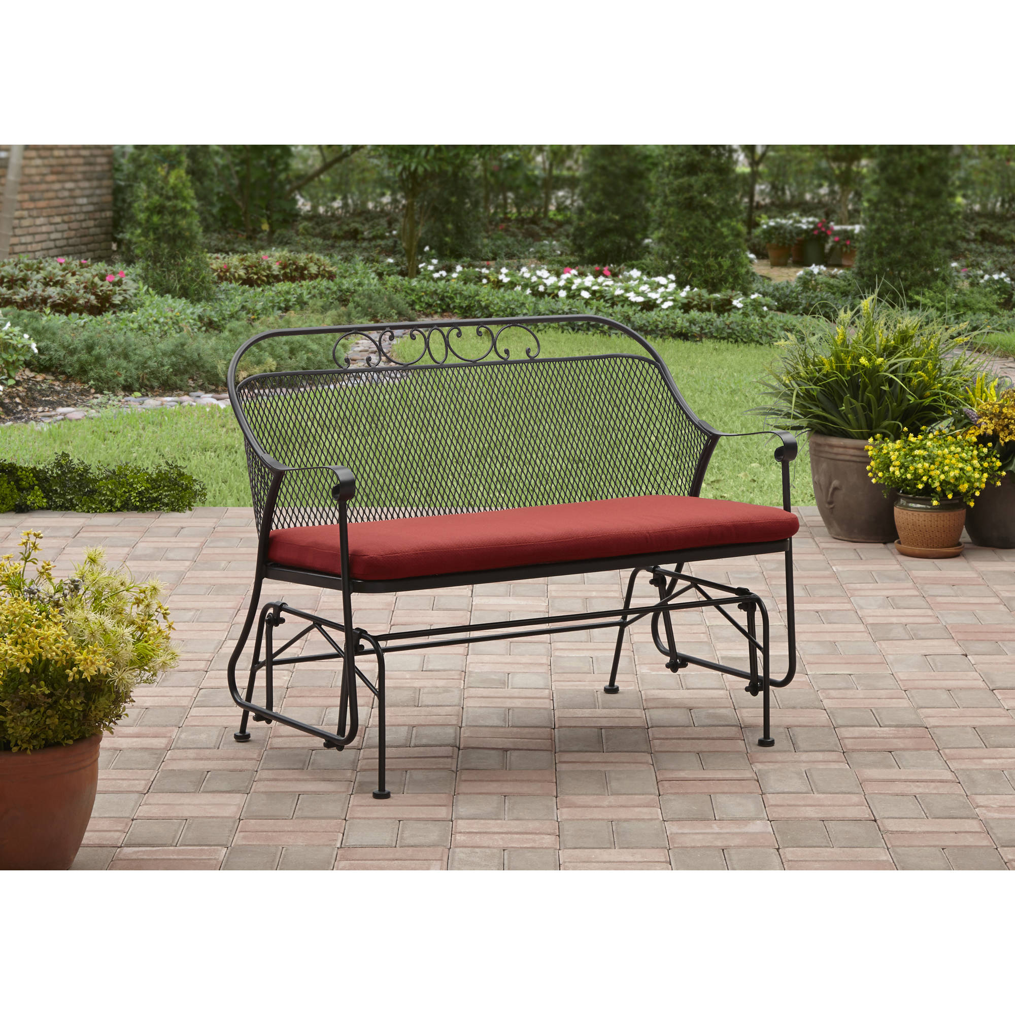 Great Better Homes And Gardens Clayton Court Outdoor Glider, Red
