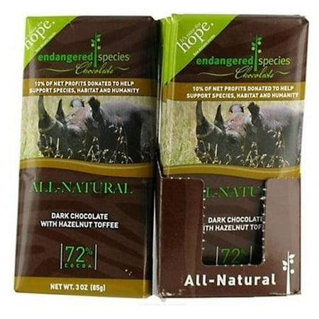 Endangered Species Dark Chocolate Bar Hazelnut Toffee Rhino (12x3 (Endangered Species Rhino)