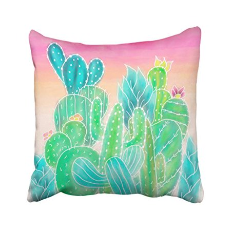 WinHome Fashion Modern Tropical Exotic Summer Cactus Watercolor Polyester 18 x 18 Inch Square Throw Pillow Covers With Hidden Zipper Home Sofa Cushion Decorative Pillowcases
