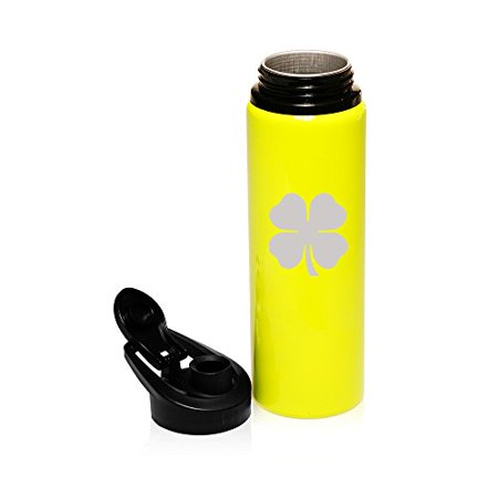 25 oz Aluminum Sports Water Travel Bottle 4 Leaf Clover Shamrock (Yellow)