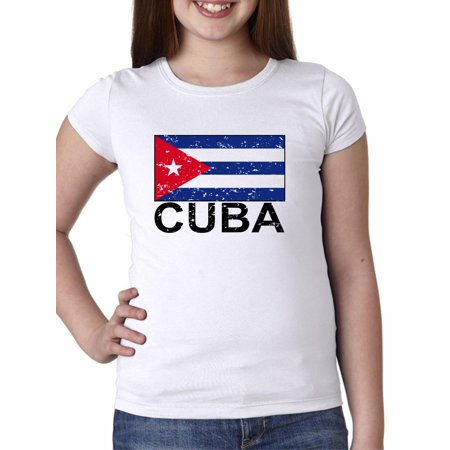 Cuba Flag - Special Vintage Edition Girl's Cotton Youth T-Shirt (Kids Cuban Shirt)