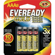 Eveready, EVEA92BP8, Gold Alkaline AAA Batteries, 8 / Pack, Red
