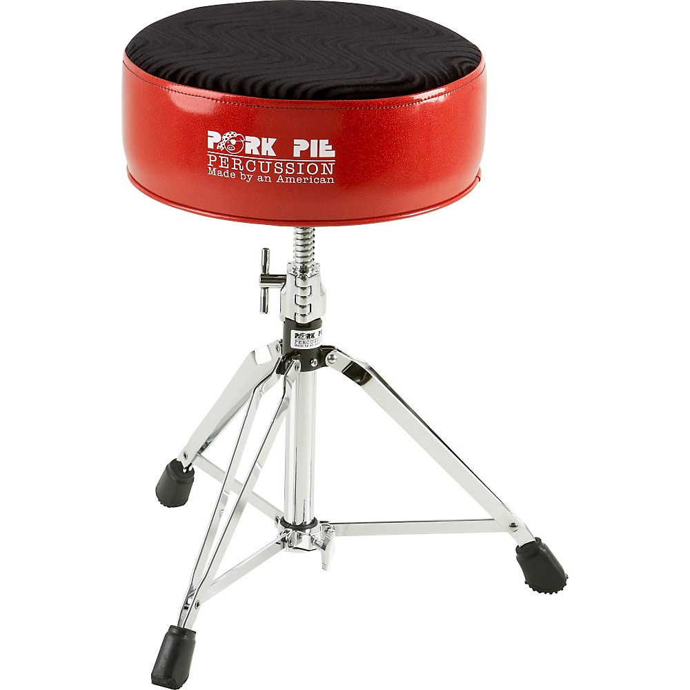 Pork Pie Round Drum Throne Red with Black Swirl Top by Pork Pie