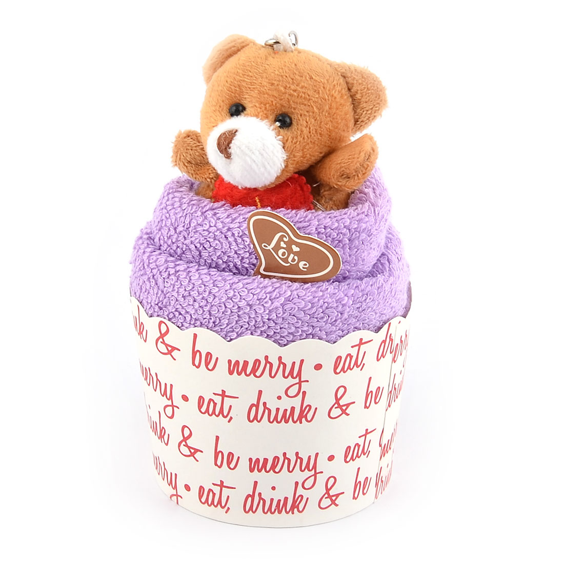 Birthday Light Purple Microfiber Cupcake Shaped Toy Bear Decor Towel Facecloth - image 4 of 5
