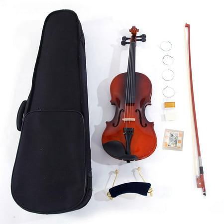 Glarry 1/2 Solid Wood Coffee Color Violin for Beginners + Case + Bow + Rosin + Shoulder Rest + String +