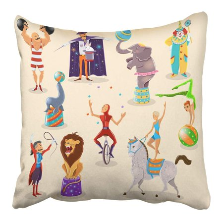 ARHOME Vintage Circus Symbols Composition of Clown Strongman and Magician with Rabbit Pillowcase Cushion Cover 16x16 inch - Strongman Circus