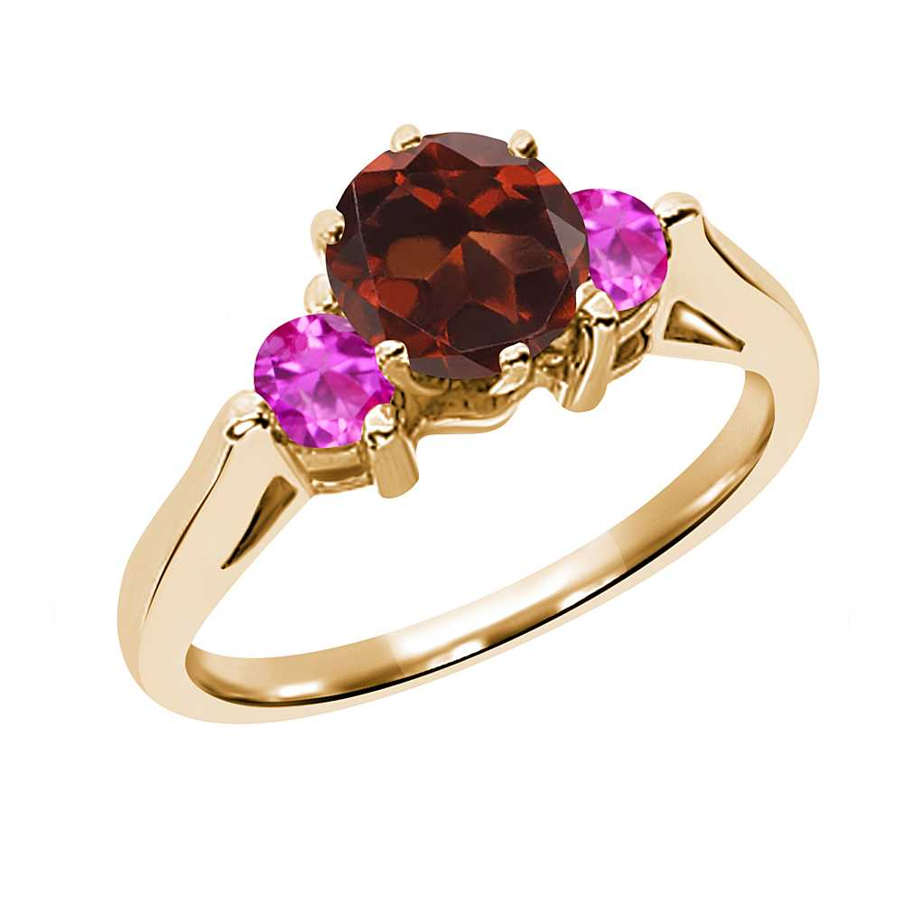 0.76 Ct Round Red Garnet Pink Sapphire 18K Yellow Gold 3-Stone Ring by