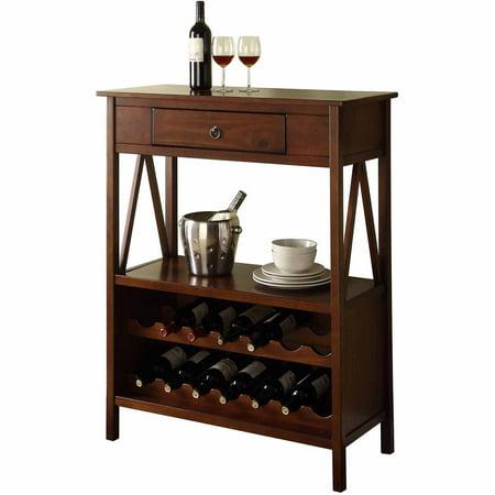 Linon Titian Wine Cabinet, Antique Tobacco, (14 bottle)