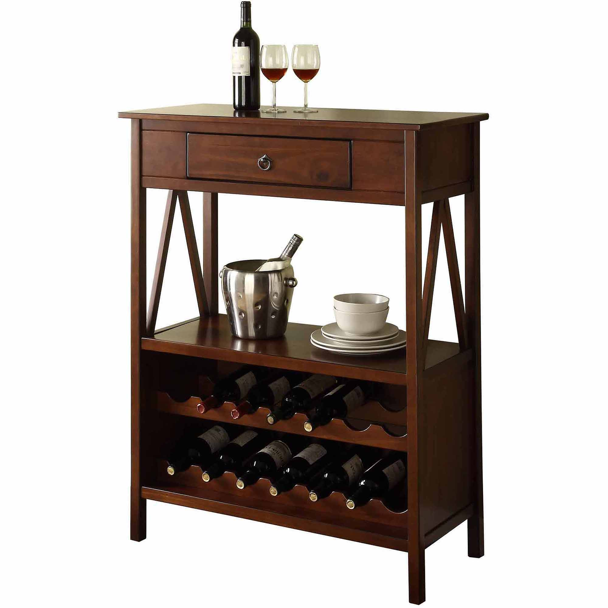 Linon Titian Wine Cabinet, Antique Tobacco, (14 bottle)