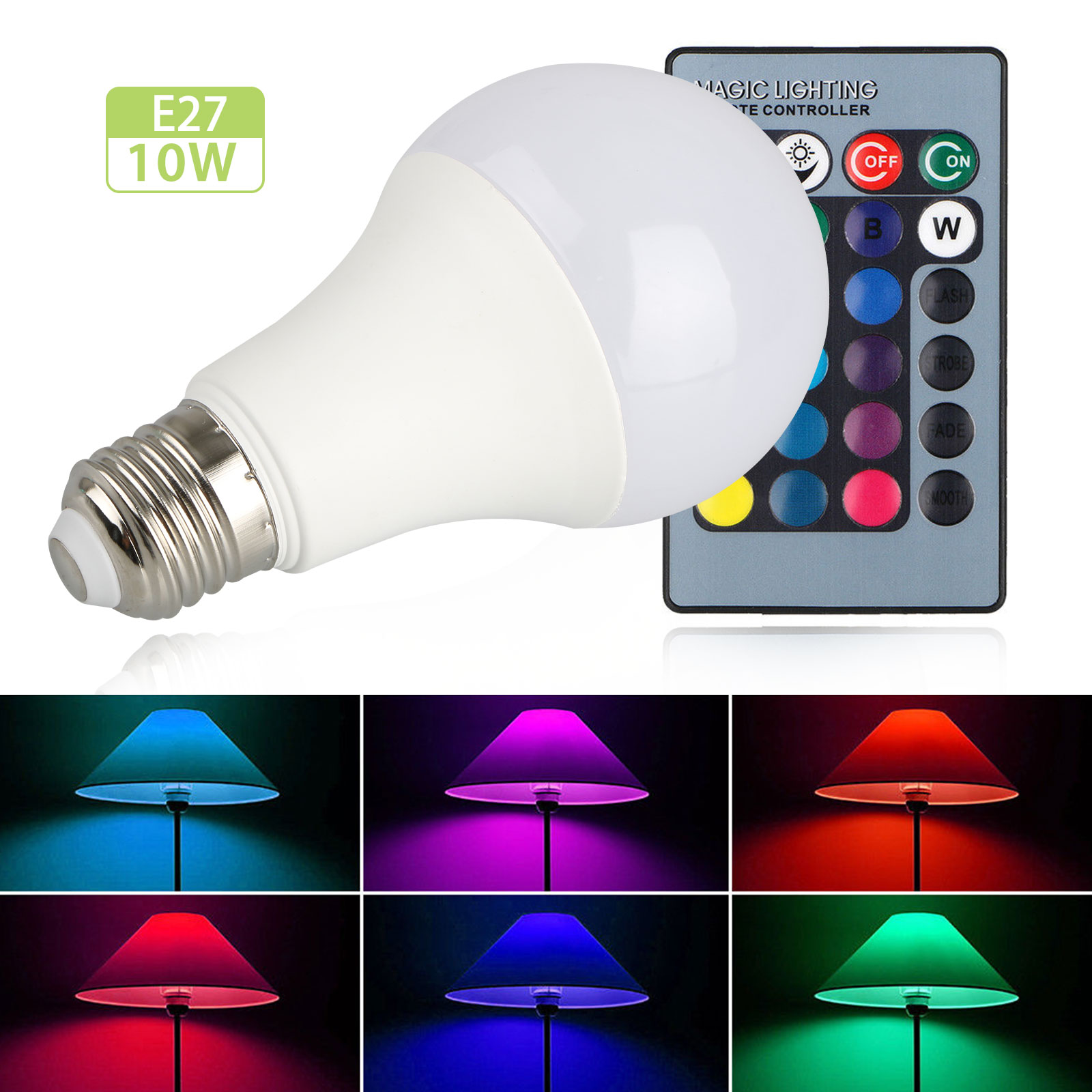 LED Color Changing Light Bulb Dimmable, E27 RGB LED Light Bulbs with IR Remote Control for Living Room Dinning Room Decoration Bar Party KTV Mood Lighting