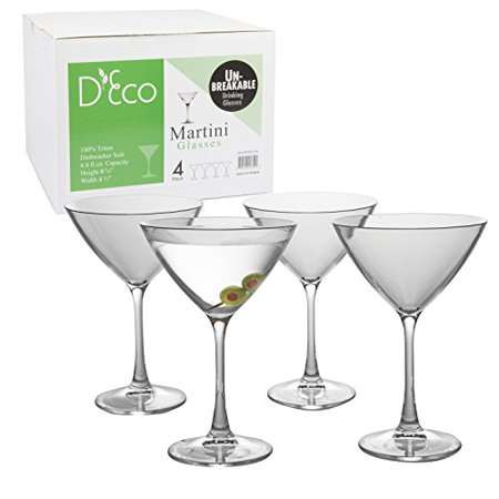 Plastic Martini Glass (Unbreakable Martini Glasses - 100% Tritan - Shatterproof, Reusable, Dishwasher Safe (Set of)