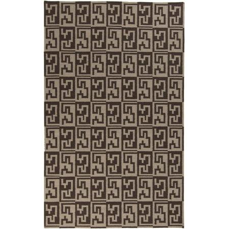 5' x 8' Egyptian Key Chocolate Brown and Tan Hand Woven Wool Area Throw