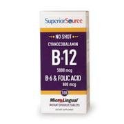 superior source no shot b12 multivitamins, 5000 mcg, 100 count