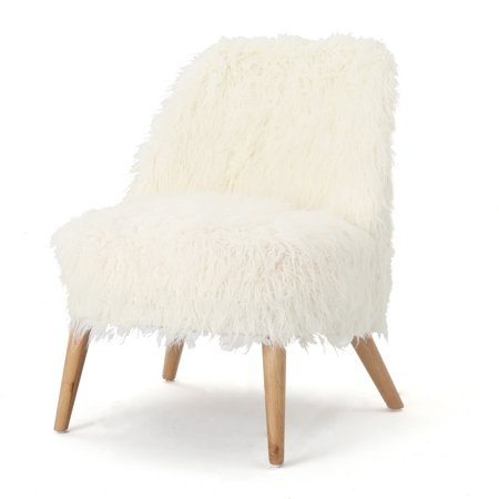 Soho Glam Faux Fur Accent Chair, White and Natural
