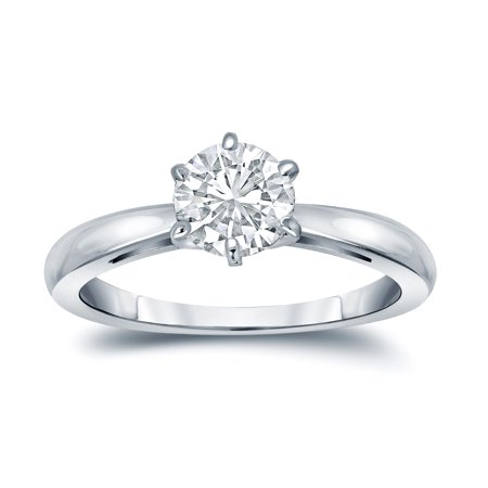 Certified 2.25ct Round White Diamond Engagement Wedding Ring In 14k White Gold Fine Rings