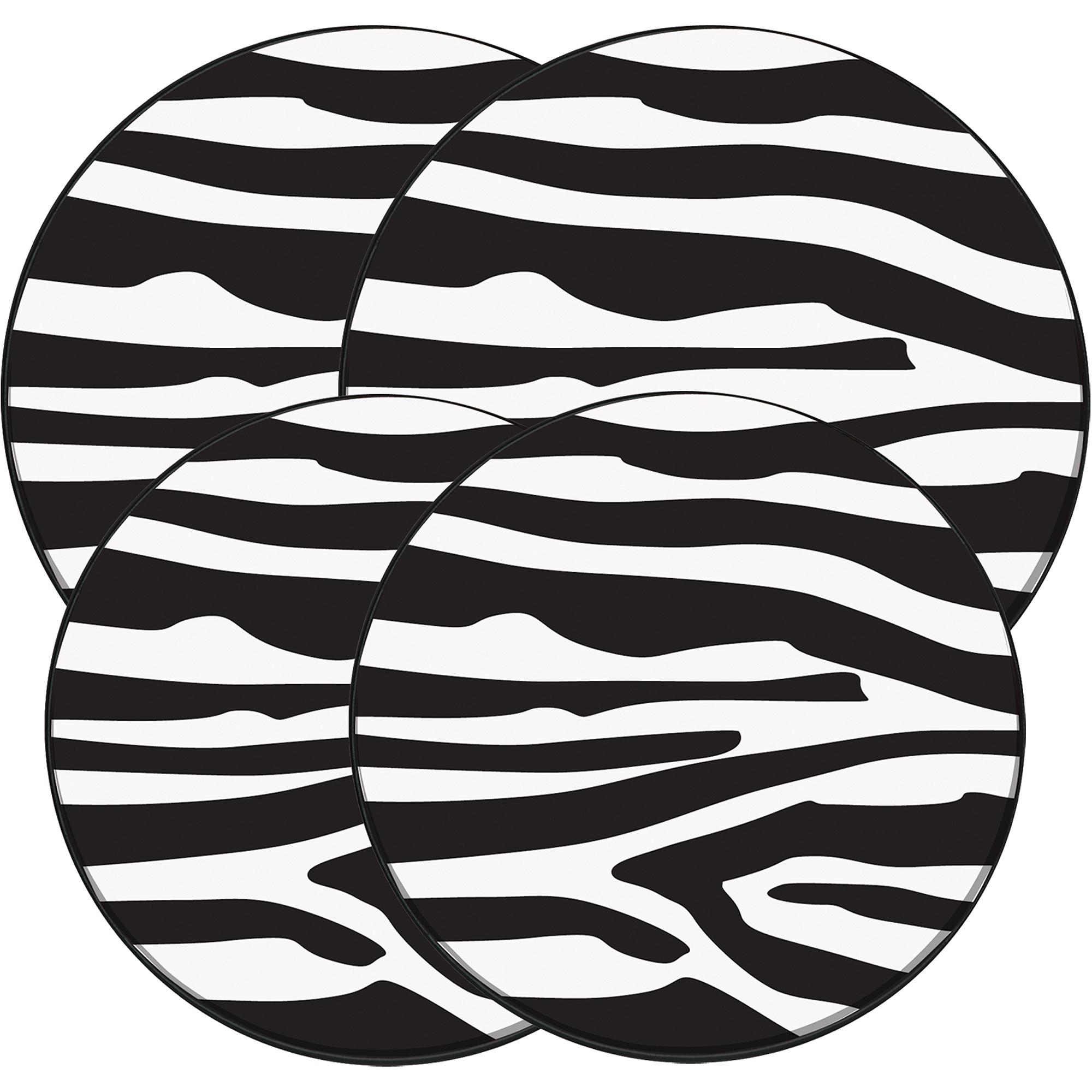 "Range Kleen 4-Piece Burner Kover Set, Round, Decorative ""In The Wild-Zebra"""