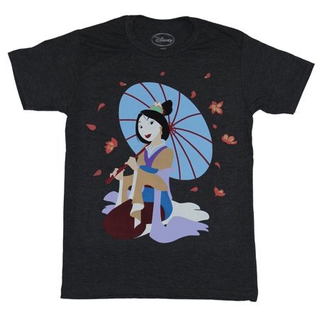 Mulan (Disney) Mens T-Shirt - Full Color Mulan Under Umbrella Image