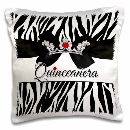 3dRose Quinceanera Zebra Print with Red and Silver Crown Bling - Pillow Case, 16 by 16-inch