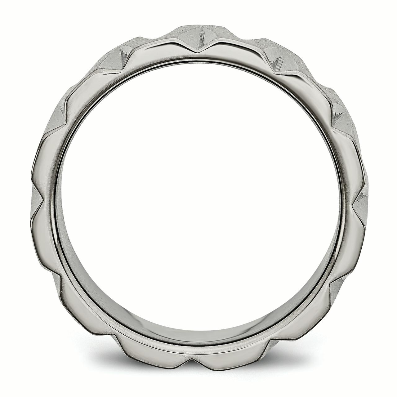 Titanium Notched 8mm Wedding Ring Band Size 7.00 Fancy Fashion Jewelry Gifts For Women For Her - image 4 de 6