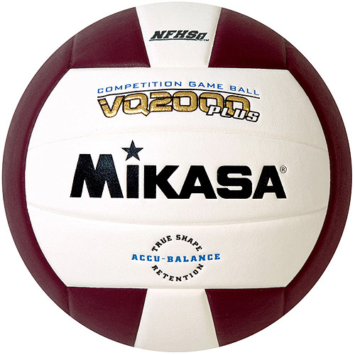 Mikasa VQ2000 Micro-Cell Indoor Volleyball, Maroon/White