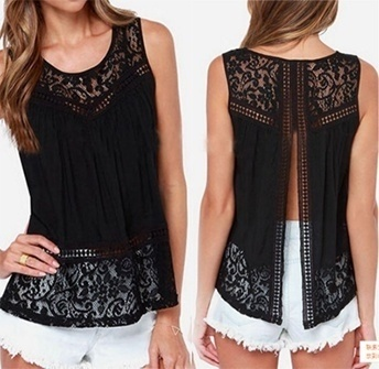 Summer Women Fashion Blusas Tops Crochet Lace Vest Blouse Shirt Open Back Sleeveless Shirt Chiffon Tank