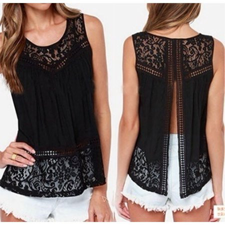 Summer Women Fashion Blusas Tops Crochet Lace Vest Blouse Shirt Open Back Sleeveless Shirt Chiffon Tank ()
