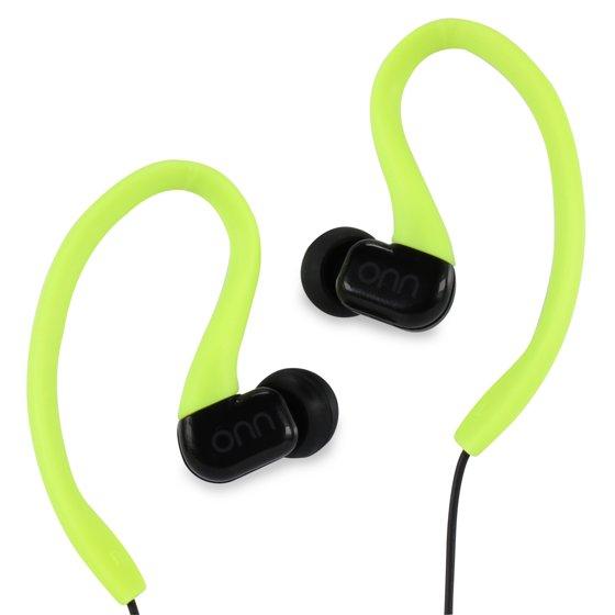 Onn Water-Resistant Sport Earbud Headphones, Neon - Walmart com