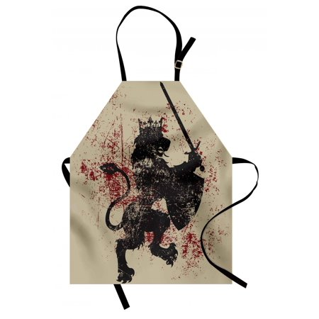 King Apron Fantasy Lion Symbol of Courage with Armor and Shield on Grunge Backdrop, Unisex Kitchen Bib Apron with Adjustable Neck for Cooking Baking Gardening, Black White and Burgundy, by Ambesonne (Lion And Shield)