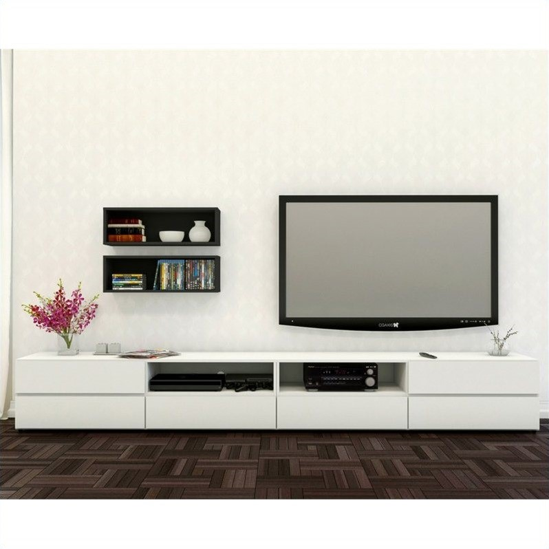 Nexera Blvd 60'' TV Stand and Wall Shelf (Set of 2)