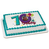 Happy 70th Birthday Edible Cake Topper Frame