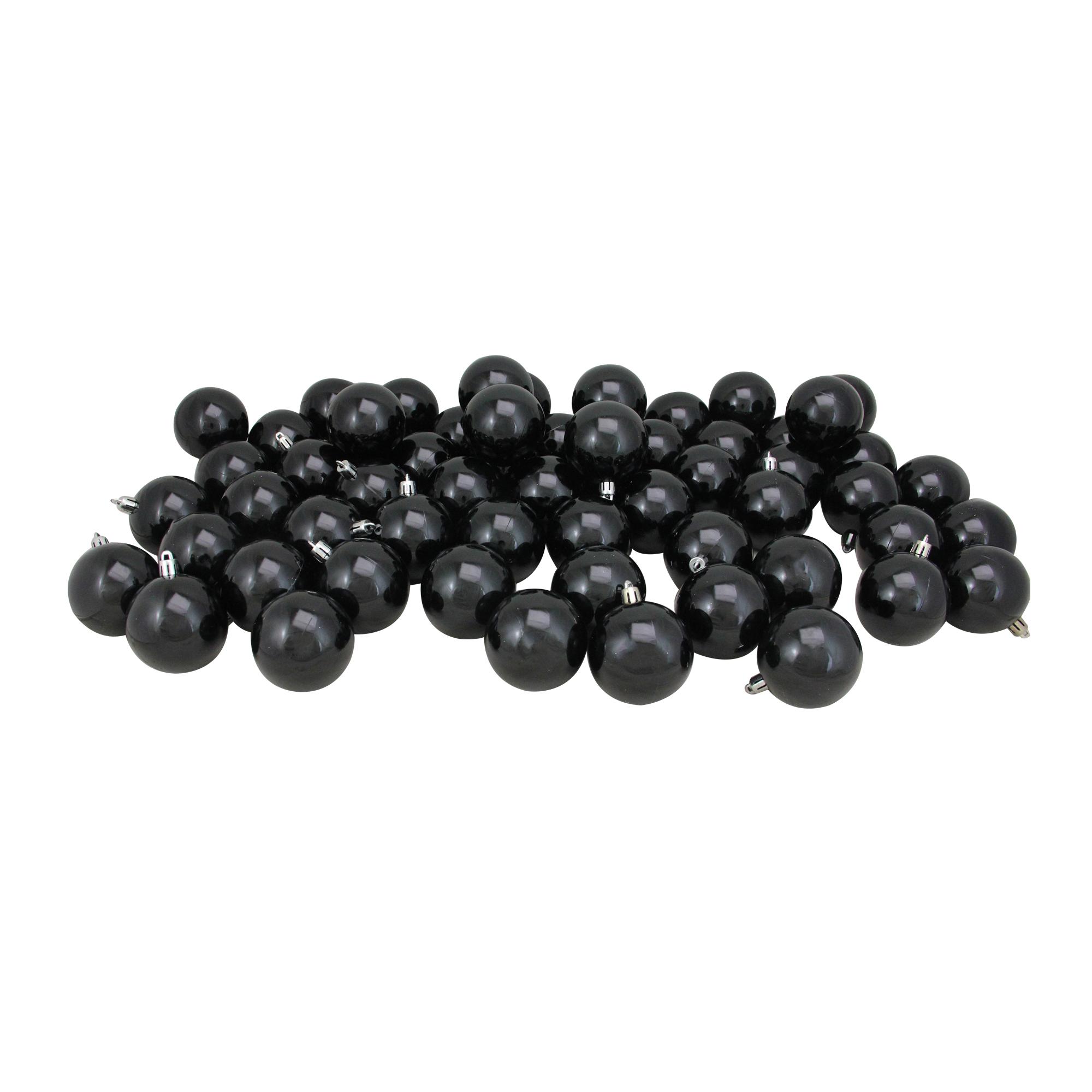 "60ct Jet Black Shatterproof Shiny Christmas Ball Ornaments 2.5"" (60mm)"