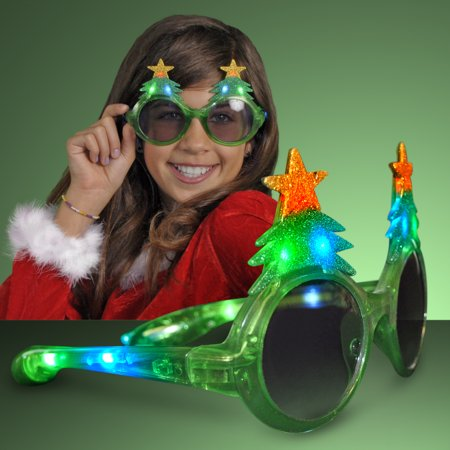 FlashingBlinkyLights Glitter Christmas Light Up Flashing LED - Glitter Christmas Lights