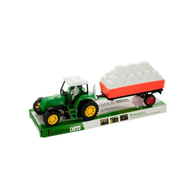Kole Imports GH496-18 Friction Farm Tractor Truck & Trailer Set Pack of 18 by Kole Imports