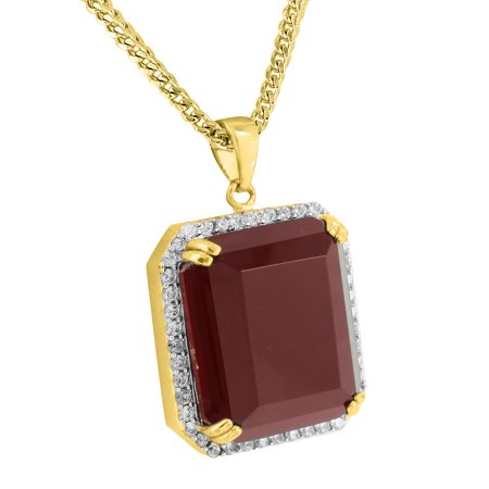 Garnet ruby pendant necklace set 18k yellow gold charm mens rapper garnet ruby pendant necklace set 18k yellow gold charm mens rapper wear hip hop aloadofball Gallery
