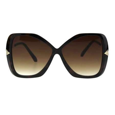Butterfly Frame Sunglasses (Womens Glitter Plastic Frame Butterfly Large Diva Sunglasses Tortoise Brown )