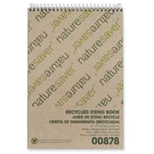 "Nature Saver Recycled Steno Book - 60 Sheet - Gregg Ruled - 6"" X 9"" - 1 Each - White Paper (NAT00878)"
