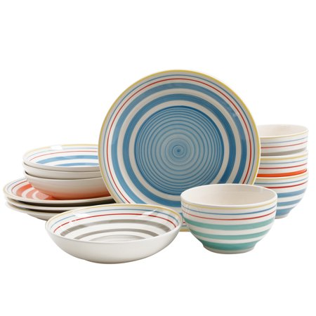 Gibson Home Moody Blues 12-Piece Double Bowl Dinnerware Set in 4 Assorted Colors