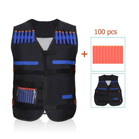 Kids Black Elite Tactical Vest with 100 PCS EVA Soft Bullets Refill Darts For N-Strike Elite Series Toy ()