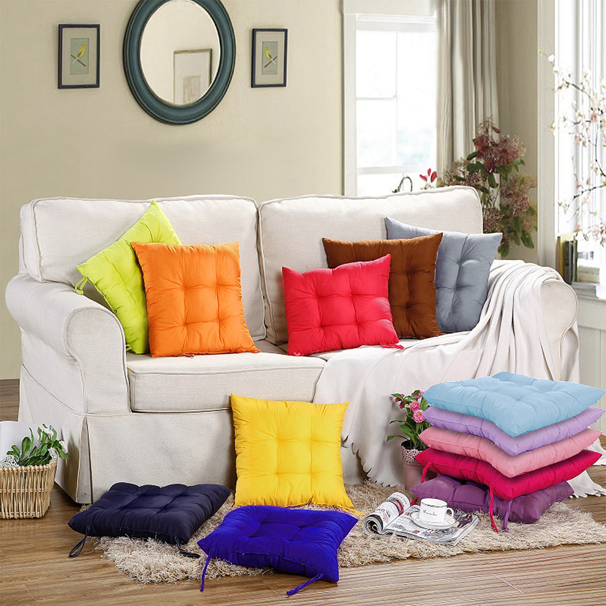 Non-Slip 15.8''*15.8'' Multi-Colors Soft Square Cotton Sit Tatami Mats Indoor Outdoor Pads Chair Sofa Floor Seat Cushion Pillow Buttocks For Garden Patio Home Kitchen Office Decor