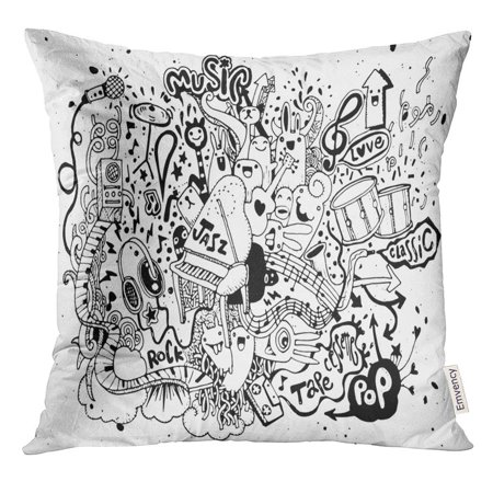 CMFUN Party Abstract Music Collage with Musical Instruments Doodle Sound Pillow Case 20x20 Inches Pillowcase
