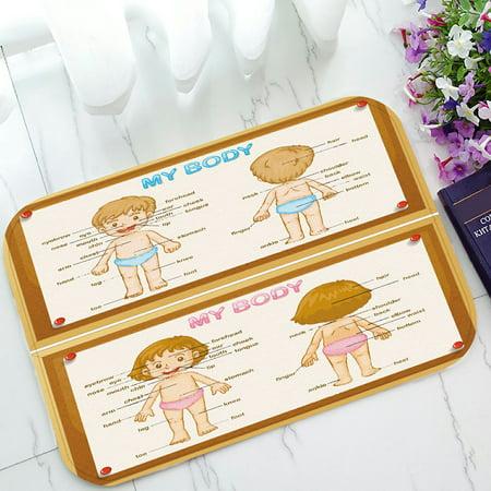 PHFZK Educational Doormat, Diagram of Human Parts with Boy and Girl Doormat Outdoors/Indoor Doormat Home Floor Mats Rugs Size 23.6x15.7