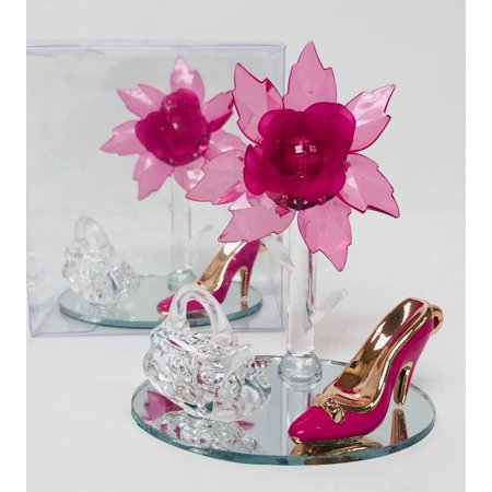 Fuchsia Acrylic Flower High Heel Shoe Favor Gift Keepsake - Case of 10 - Birthday,  Sweet 16,  Mis Quince,  Bridal Shower,  All Occasion](Mis Quince Decorations)