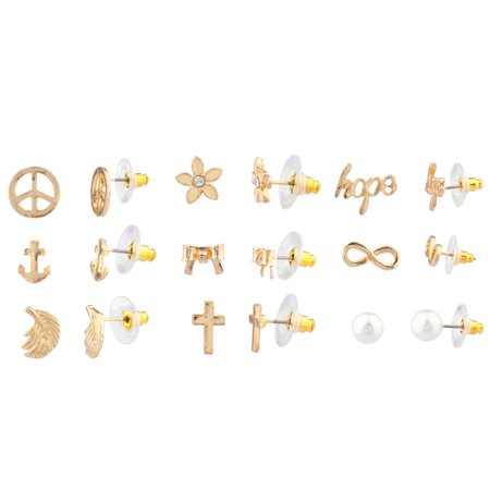 Floral Set Earrings (Lux Accessories Delicate Peace Sign Anchor Wing Cross Bow Floral Flower Hope Infinity Faux Pearl Stud Earrings Set Women Kids Girls)
