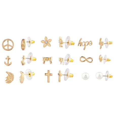 Lux Accessories Delicate Peace Sign Anchor Wing Cross Bow Floral Flower Hope Infinity Faux Pearl Stud Earrings Set Women Kids - Delicate Flower Earrings